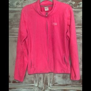 VS PINK Sherpa Full ZIP Hot Pink